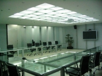 Glass floor, glass partition and stepped glass ceiling