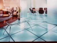 Backlit glass floor