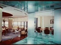 Backlit glass floor and glass ceiling